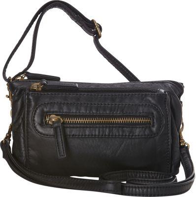 Ampere Creations The Anita Three Way Crossbody Wristlet Bag Black - Ampere Creations Manmade Handbags
