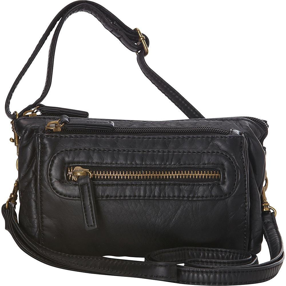 Ampere Creations The Anita Three Way Crossbody Wristlet Bag Black Ampere Creations Manmade Handbags