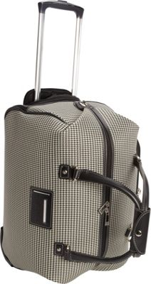 London Fog Cambridge 20 inch Wheeled Club Bag Black White Houndstooth - London Fog Rolling Duffels
