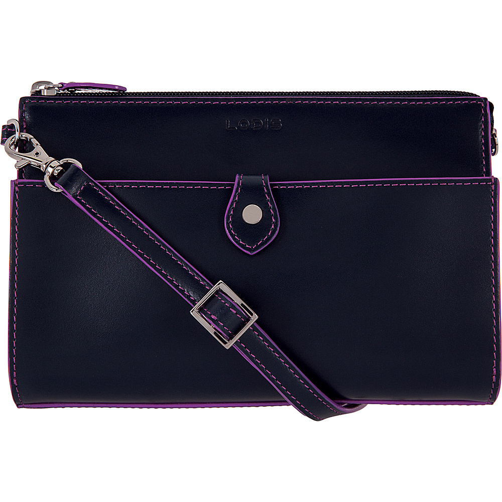 Lodis Audrey Vicky Convertible Crossbody Clutch - Discontinued Colors Navy/Orchid - Lodis Leather Handbags - Handbags, Leather Handbags