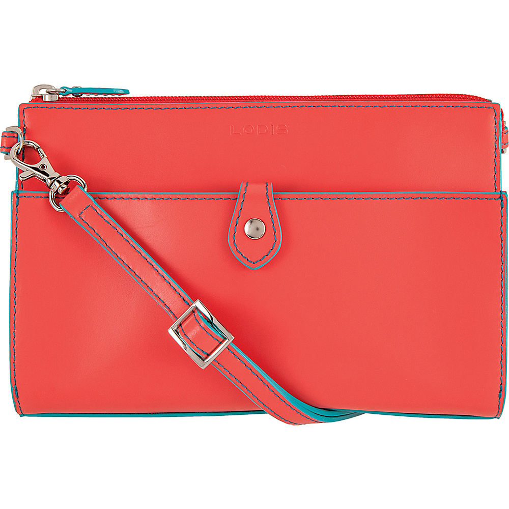 Lodis Audrey Vicky Convertible Crossbody Clutch Coral/Turquoise - Lodis Leather Handbags - Handbags, Leather Handbags