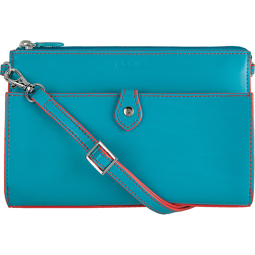 Lodis Audrey Vicky Convertible Crossbody Clutch Turquoise/Coral - Lodis Leather Handbags - Handbags, Leather Handbags
