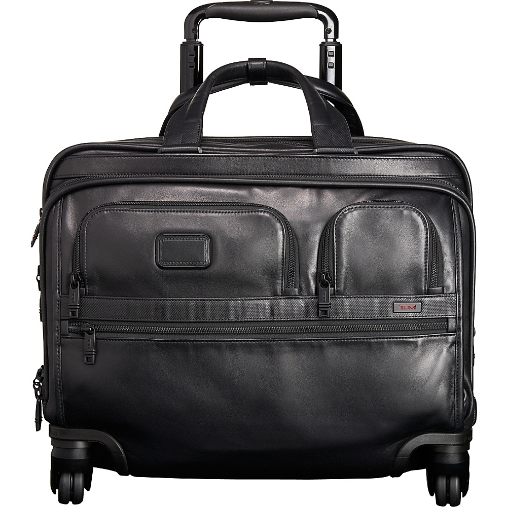 Tumi Alpha 2 4 Wheeled Deluxe Leather Brief with Laptop Case Black D 2 Tumi Wheeled Business Cases