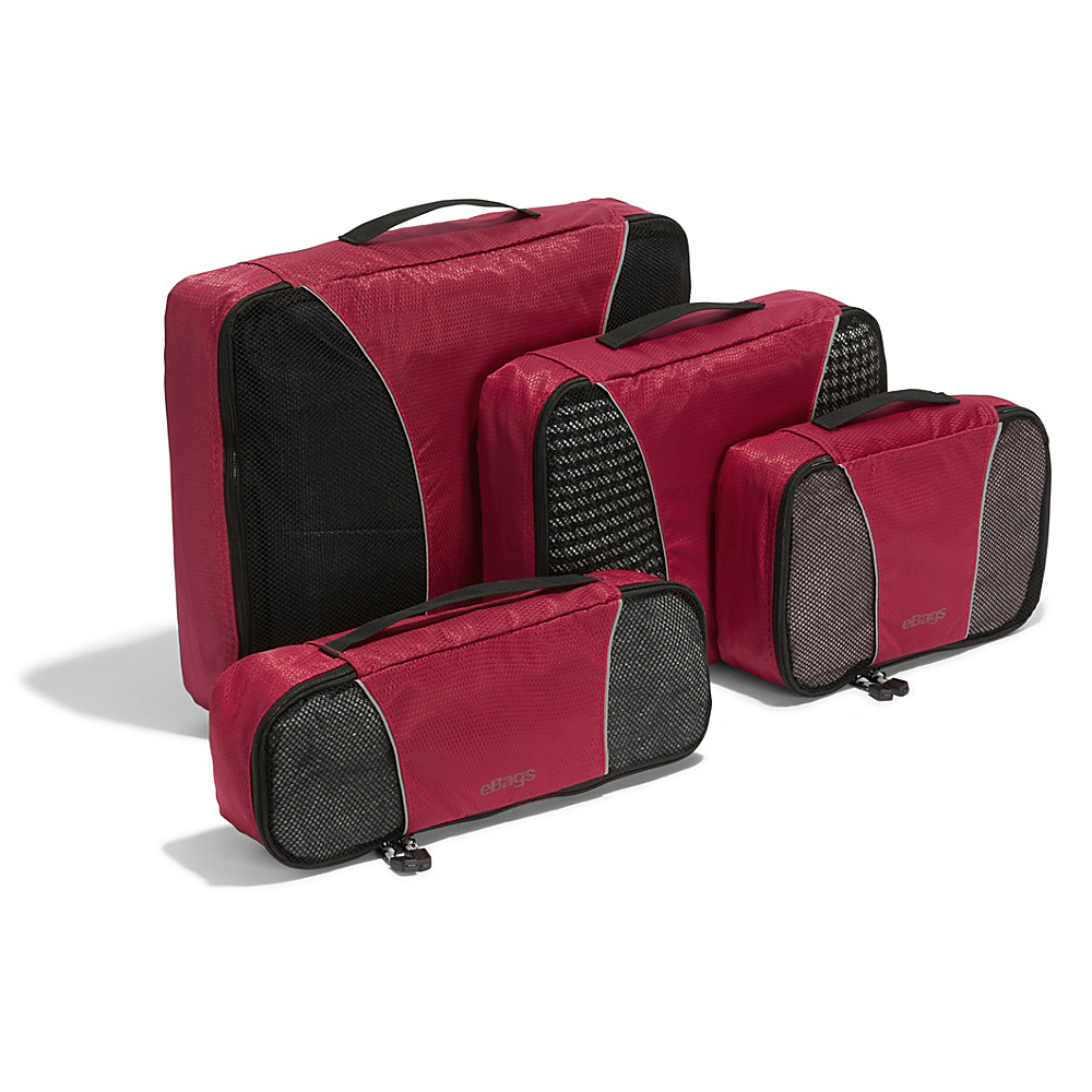 eBags Classic 4pc Packing Cubes Raspberry - eBags Travel Organizers