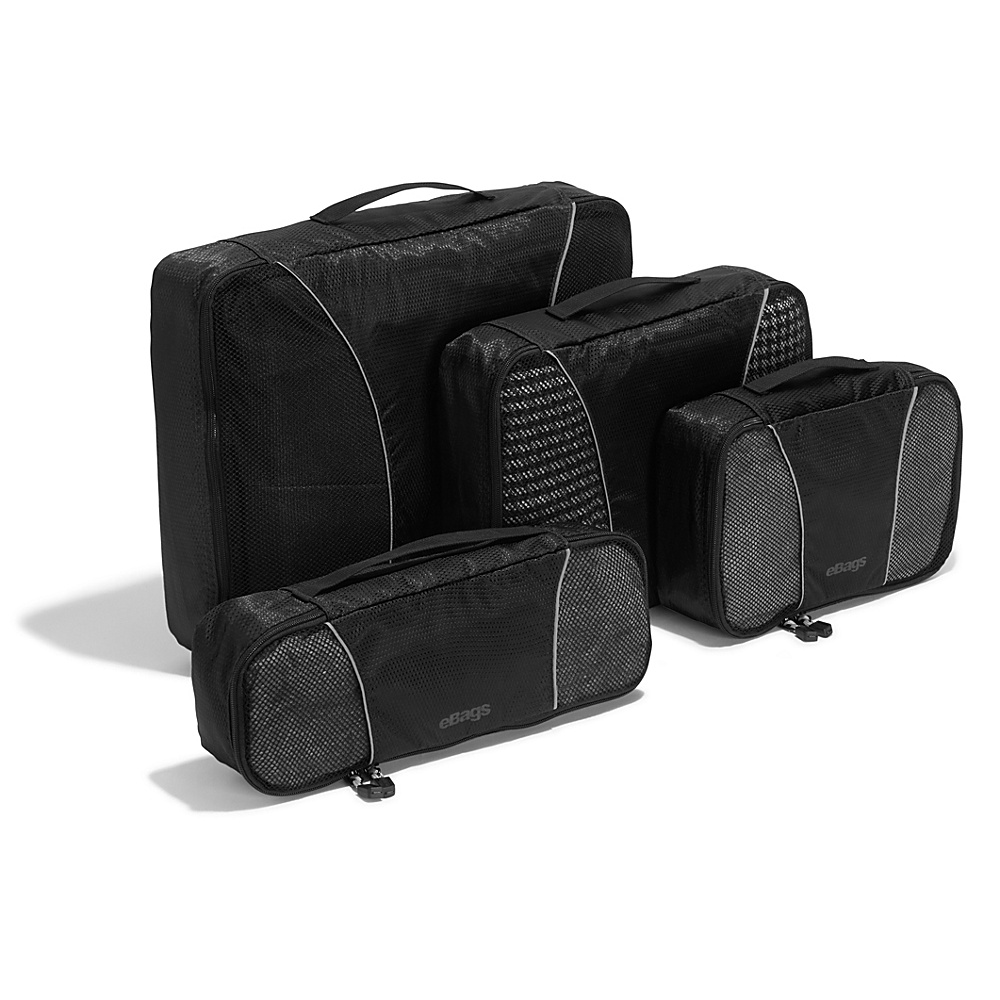 eBags Classic 4pc Packing Cubes Black - eBags Travel Organizers