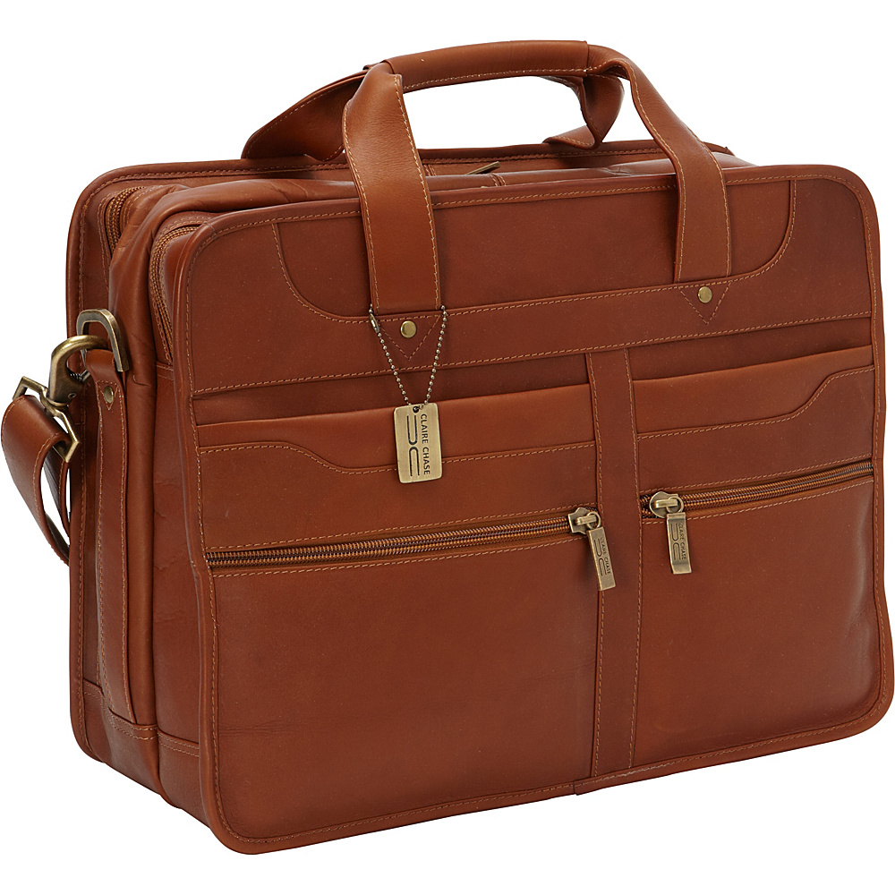 ClaireChase Diamond Computer Briefcase Saddle - ClaireChase Non-Wheeled Business Cases