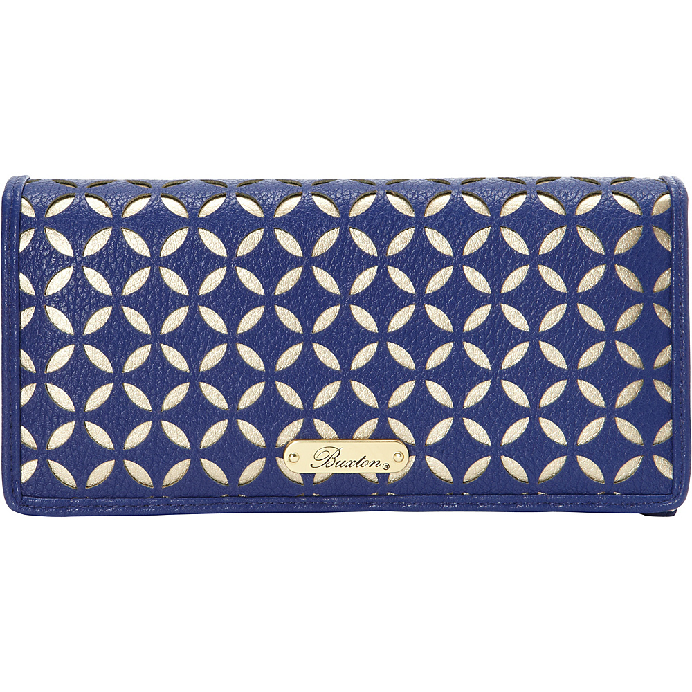 Buxton Polka Dot Laser Cut Expandable Clutch - Exclusive Olympian Blue - Exclusive Color - Buxton Womens Wallets - Women's SLG, Women's Wallets