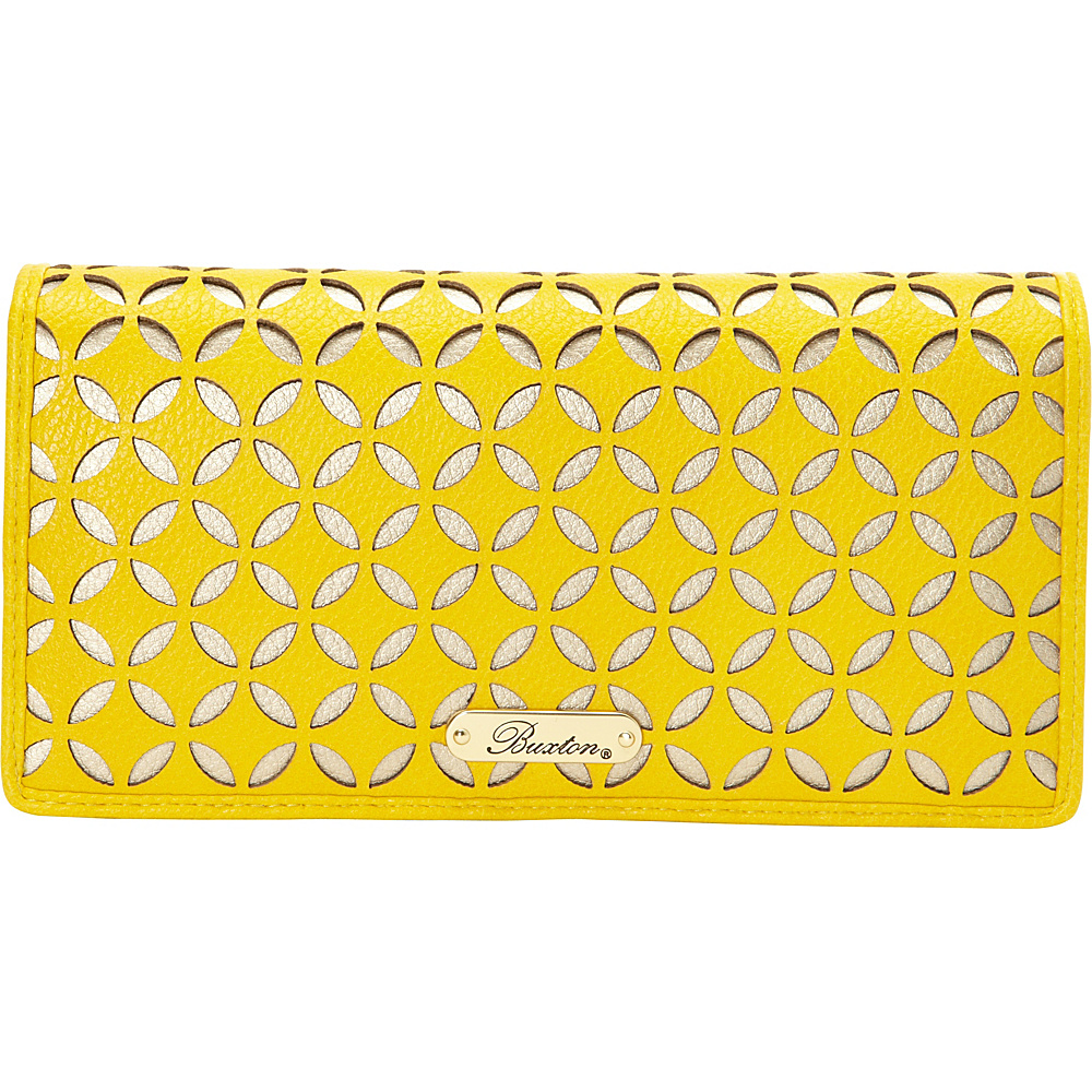 Buxton Polka Dot Laser Cut Expandable Clutch Exclusive Sunshine Exclusive Color Buxton Women s Wallets