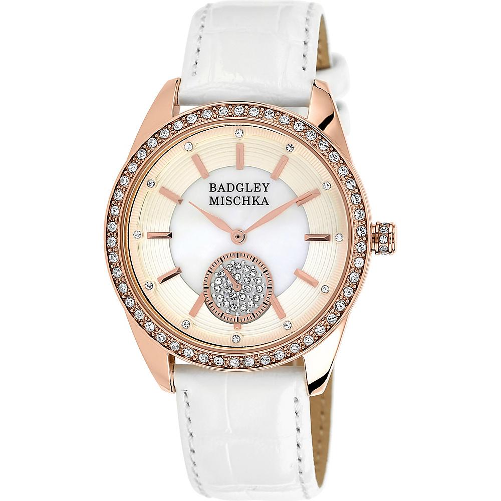 Badgley Mischka Watches Round Crystal Watch White/Rose Gold - Badgley Mischka Watches Watches