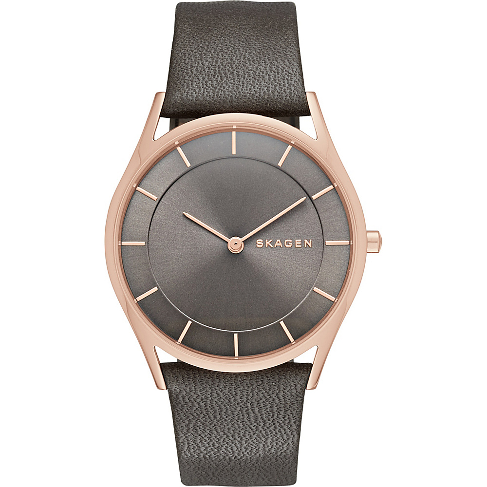 Skagen Holst Slim Leather Watch Grey Skagen Watches