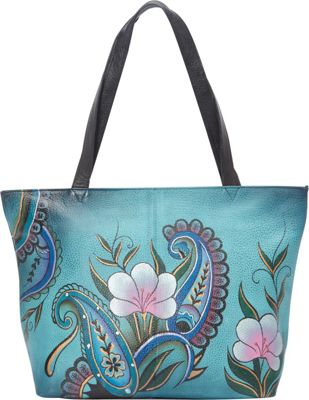ANNA by Anuschka Large Tote Denim Paisley Floral - ANNA by Anuschka Leather Handbags