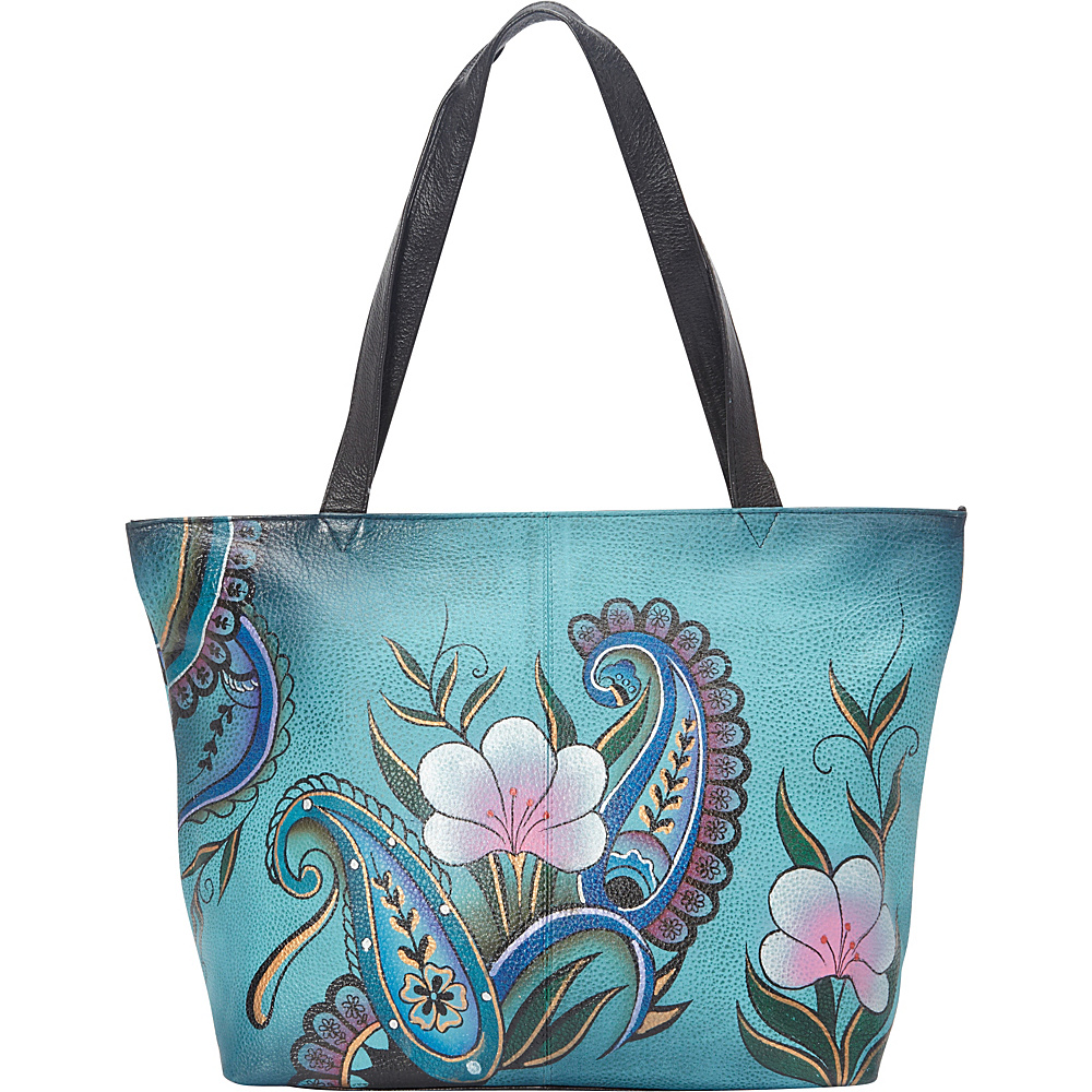 ANNA by Anuschka Large Tote Denim Paisley Floral ANNA by Anuschka Leather Handbags