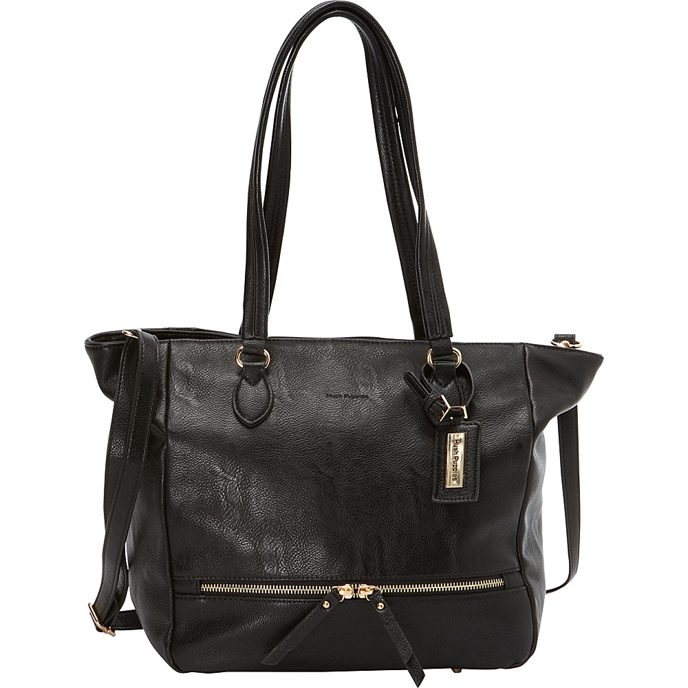 Hush Puppies Shoulder Tote with Zipper Pulls Black - Hush Puppies Manmade Handbags