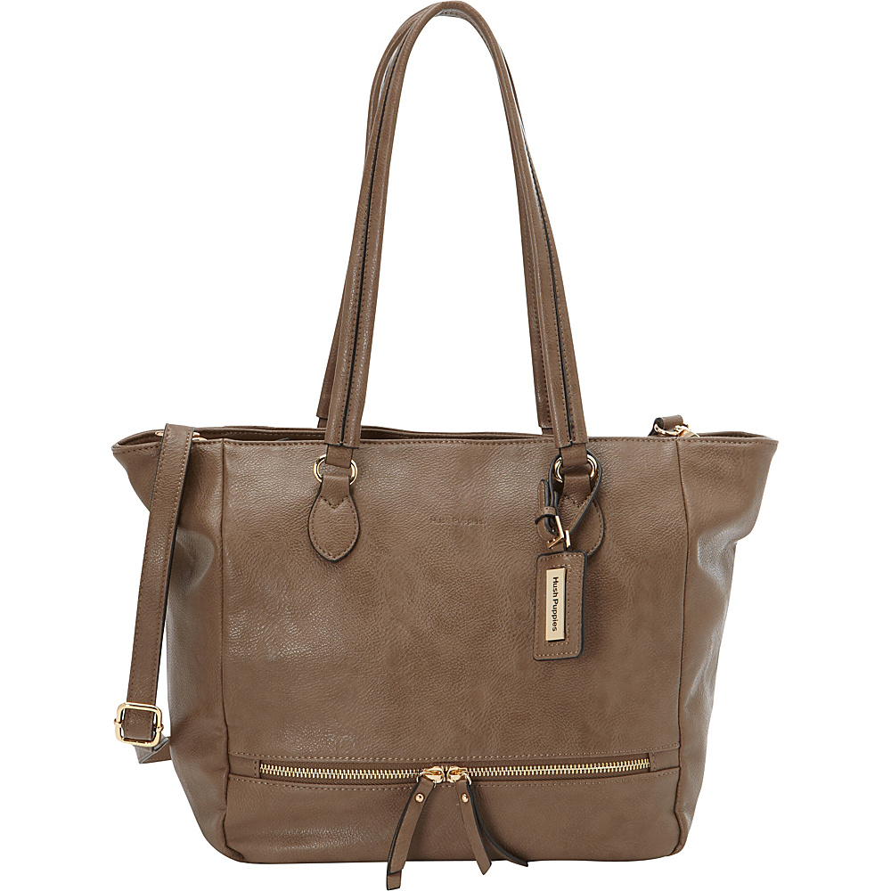 Hush Puppies Shoulder Tote with Zipper Pulls Taupe - Hush Puppies Manmade Handbags