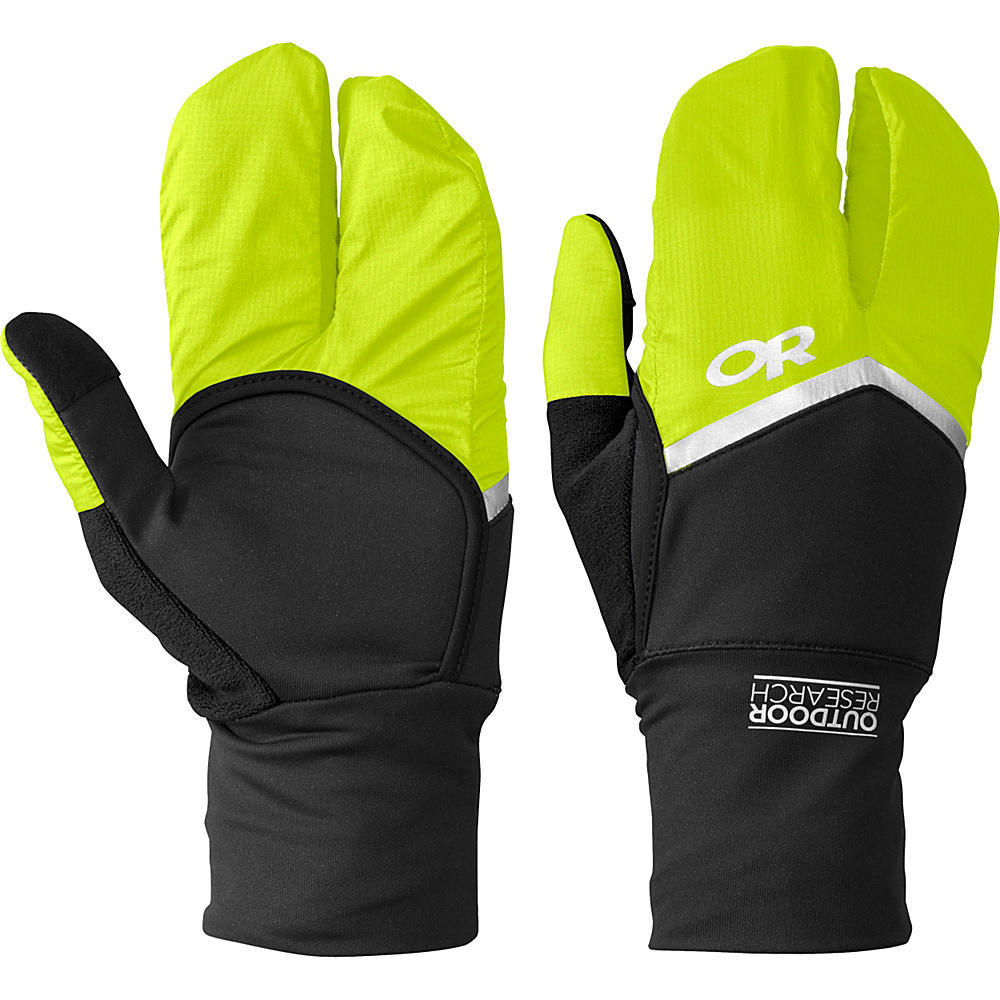 Outdoor Research Hot Pursuit Convertible Running Gloves XS - Black/Lemongrass – LG - Outdoor Research Hats/Gloves/Scarves - Fashion Accessories, Hats/Gloves/Scarves