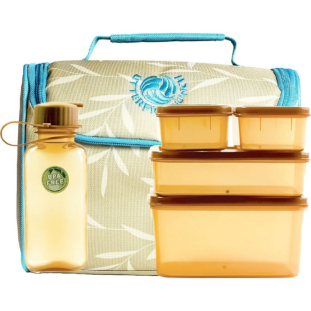 New Wave Litter Free Lunch Box Tan w/Brown Piping - New Wave Travel Coolers