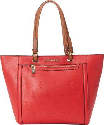 U.S. Polo Association Logo Embossed Logo Tote Red/Cognac - U.S. Polo Association Manmade Handbags