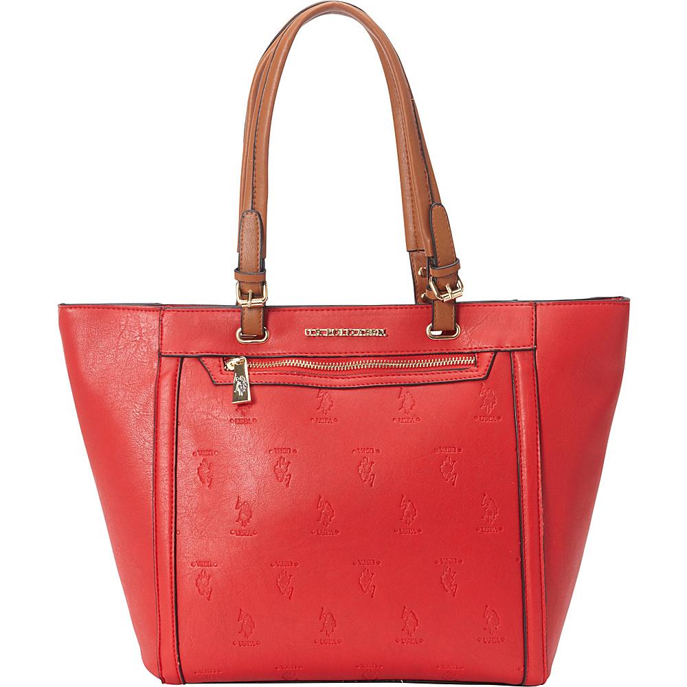 5775e8e7af9c U.S. Polo Association Logo Embossed Logo Tote Red Cognac - U.S. Polo  Association Manmade Handbags