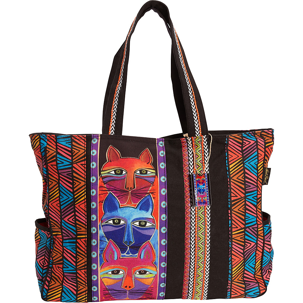 Laurel Burch Stacked Whiskered Cats Oversized Tote Multi - Laurel Burch Fabric Handbags