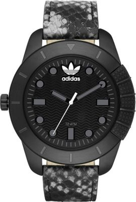 Image of adidas originals Watches 1969 Three Hand Leather Watch - Animal Print Black with Black - adidas originals Watches Watches