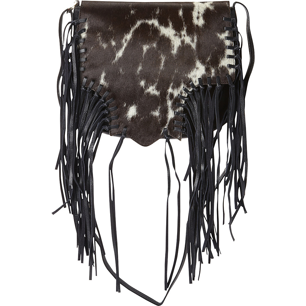 Scully Calf Hair Knotted Fringe Shoulder Bag White and Brown Scully Leather Handbags