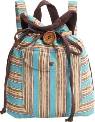 Scully Stripe Backpack Handbag Turquoise - Scully Fabric Handbags