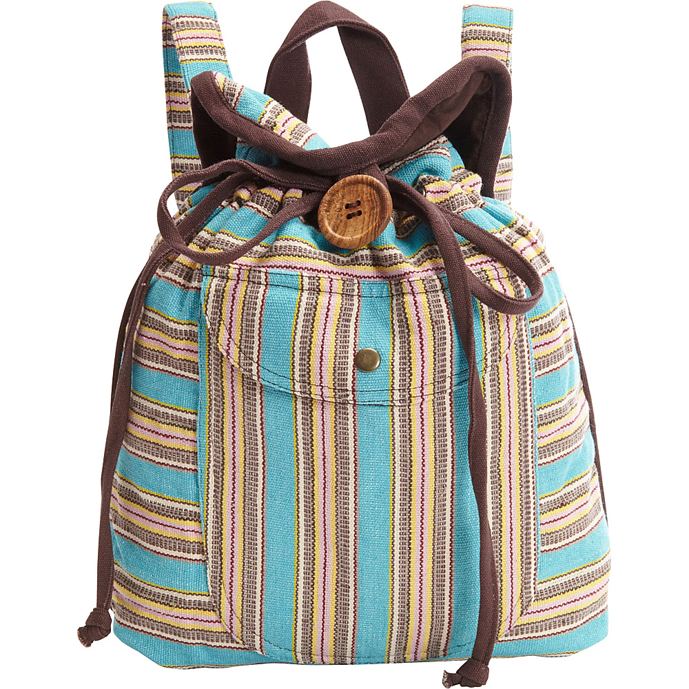 Scully Stripe Backpack Handbag Turquoise Scully Fabric Handbags