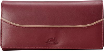 Mancini Leather Goods RFID Secure Gemma Medium Trifold Clutch Wallet Burgundy - Mancini Leather Goods Women's Wallets