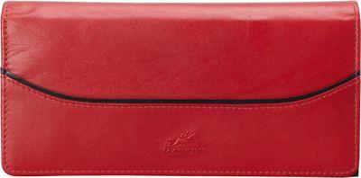Mancini Leather Goods RFID Secure Gemma Medium Trifold Clutch Wallet Red - Mancini Leather Goods Women's Wallets
