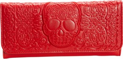 Loungefly Lattice Skull Wallet Red - Loungefly Ladies Small Wallets