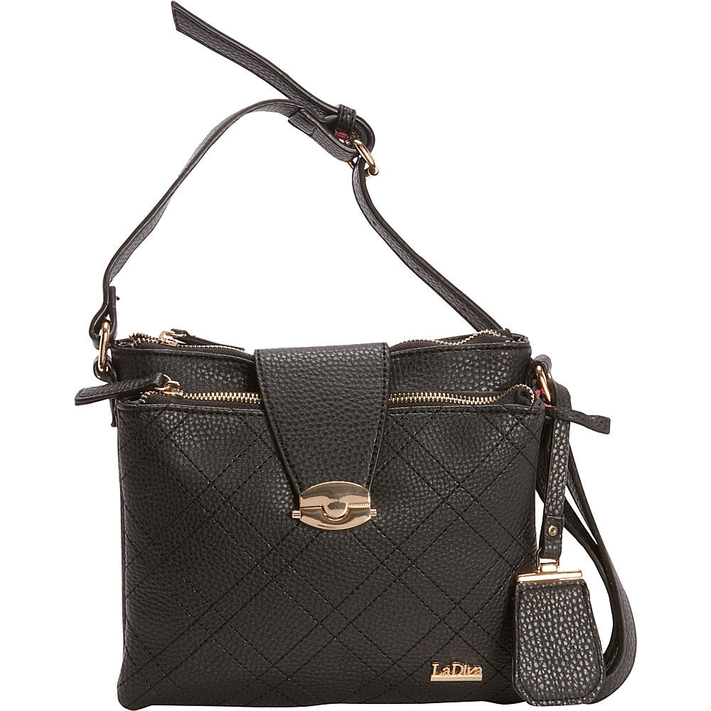La Diva Double Top Zip Crossbody Black La Diva Manmade Handbags