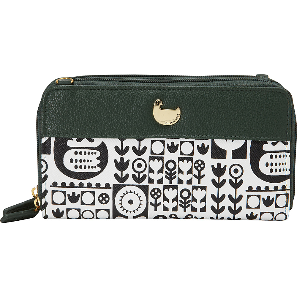 Buxton Nordic Flight Ultimate Double Zip Organizer Pineneedle - Buxton Womens Wallets - Women's SLG, Women's Wallets