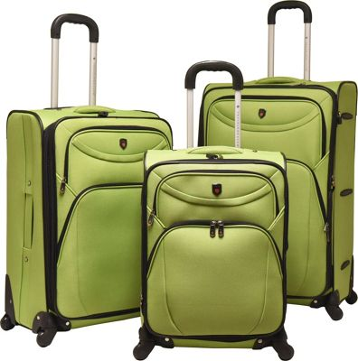 Travelers Club Luggage 3 Piece  inchD-Luxe inch  Expandable Spinner Luggage Set Green - Travelers Club Luggage Luggage Sets