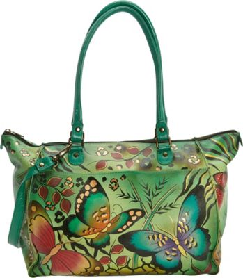 ANNA by Anuschka Hand Painted Large Tote Animal Butterfly - ANNA by Anuschka Leather Handbags