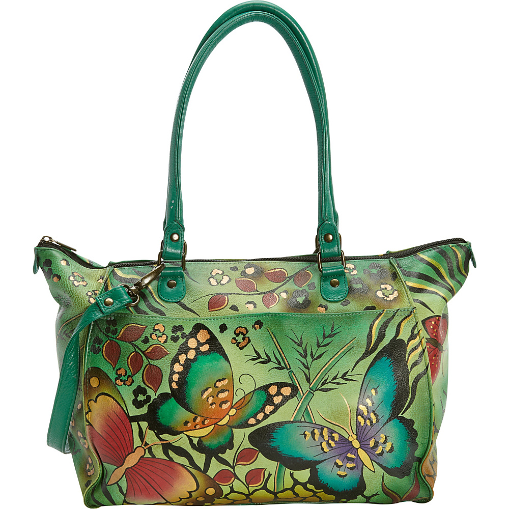 ANNA by Anuschka Hand Painted Large Tote Animal Butterfly ANNA by Anuschka Leather Handbags