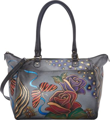 ANNA by Anuschka Hand Painted Large Tote Rose Safari Grey - ANNA by Anuschka Leather Handbags
