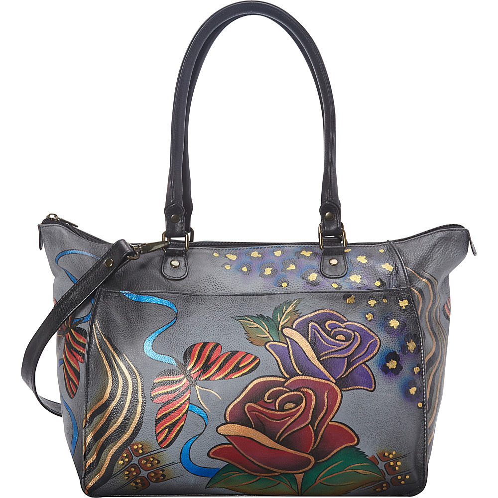 ANNA by Anuschka Hand Painted Large Tote Rose Safari Grey ANNA by Anuschka Leather Handbags