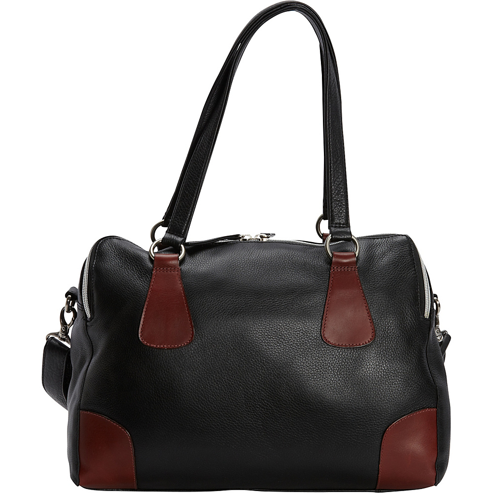 Derek Alexander E/W Top Zip Satchel with Twin Handles Black/Brandy - Derek Alexander Leather Handbags