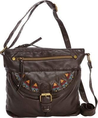 T-shirt & Jeans Washed Cross Body with Embroidery Brown - T-shirt & Jeans Leather Handbags