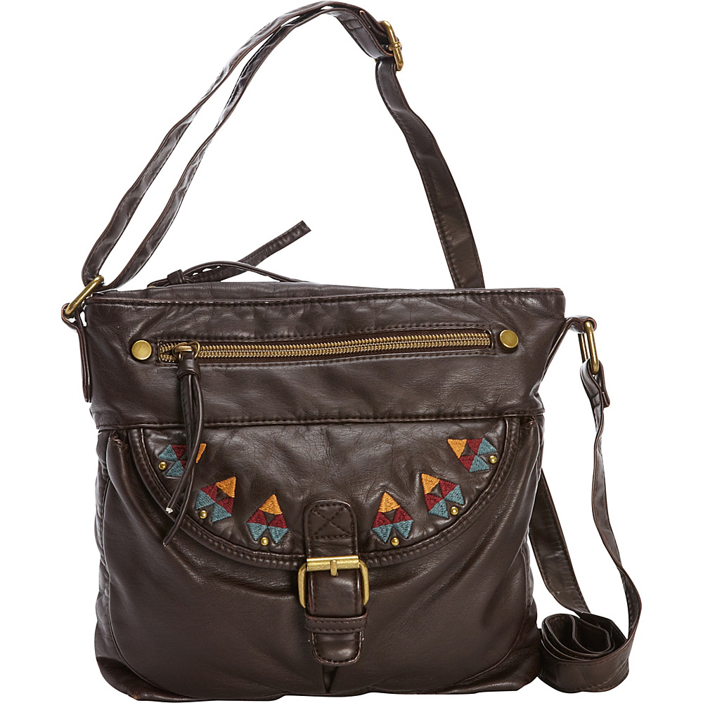 T shirt Jeans Washed Cross Body with Embroidery Brown T shirt Jeans Manmade Handbags