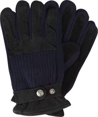 Original Penguin Ribbed Knit Suede Gloves S/M - Black - Original Penguin Hats/Gloves/Scarves