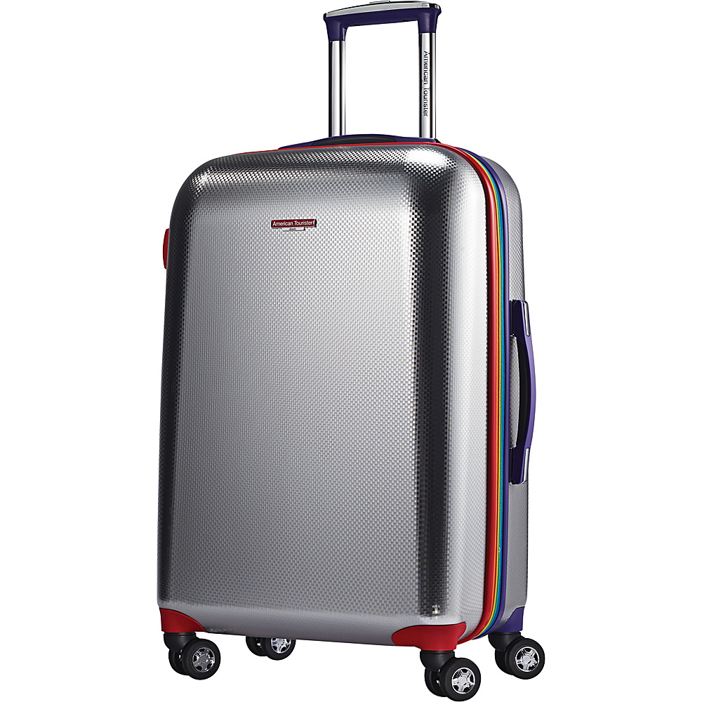 "American Tourister Metallic Disco 24"" Spinner Silver/Rainbow - American Tourister Hardside Luggage"