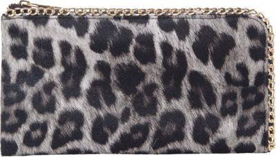 Rebecca & Rifka Faux Leather Leopard Print Chain Wallet Black/Leopard - Rebecca & Rifka Women's Wallets