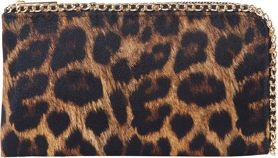 Rebecca & Rifka Faux Leather Leopard Print Chain Wallet Brown/Leopard - Rebecca & Rifka Women's Wallets