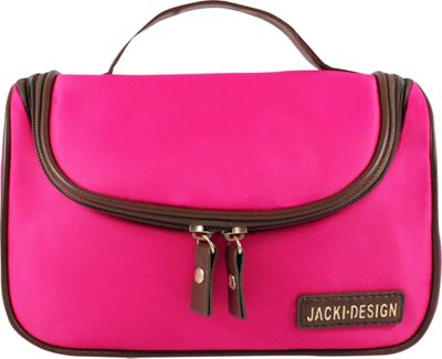 Jacki Design Essential Travel Cosmetic Bag with Hanger Hot Pink - Jacki Design Toiletry Kits