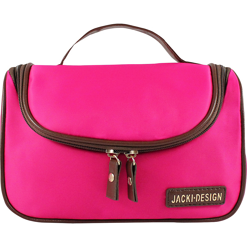 Jacki Design Essential Travel Cosmetic Bag with Hanger Hot Pink Jacki Design Toiletry Kits