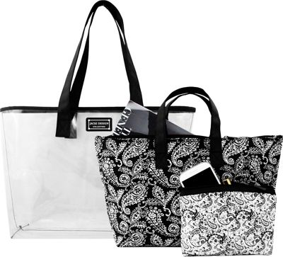Jacki Design Mystique 3 Piece Tote Bag Set Black - Jacki Design Fabric Handbags