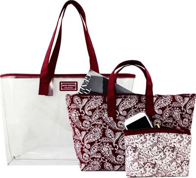 Jacki Design Mystique 3 Piece Tote Bag Set Red - Jacki Design Fabric Handbags