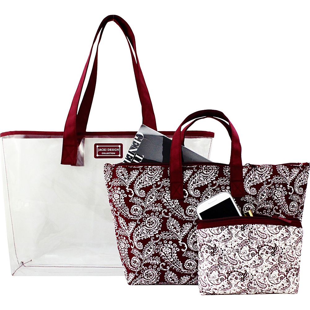 Jacki Design Mystique 3 Piece Tote Bag Set Red Jacki Design Fabric Handbags
