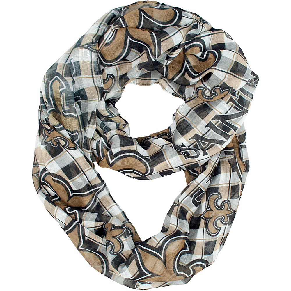 Littlearth Sheer Infinity Scarf Plaid - NFL Teams New Orleans Saints - Littlearth Hats/Gloves/Scarves - Fashion Accessories, Hats/Gloves/Scarves